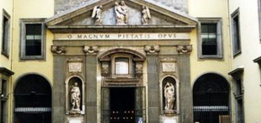 Particolare della facciata della Cappella del Monte di Pietà