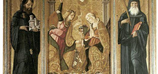 Cristoforo Scacco da Verona, Trittico dell'Annunciazione (Annunciazione tra i Ss. benedettini Onorato e Mauro), tempera e oro su tavola, 1499. Fondi, chiesa di San Pietro Apostolo, Mausoleo Cajetani