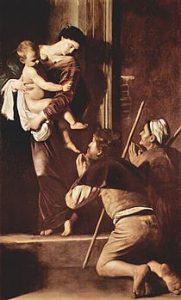 Michelangelo Merisi da Caravaggio, Madonna dei Pellegrini, olio su tela, 1604-1606, Roma, Basilica di Sant'Agostino in Campo Marzio