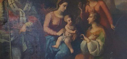 Andrea Mattei, Sposalizio mistico di Santa Caterina con San Nicola, San Gerardo (?) e Santa Margherita, 1783, olio su tavola, Castellonorato (fraz. di Formia), chiesa di santa Caterina