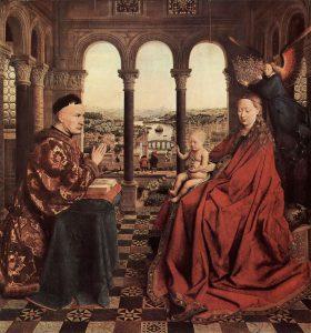 Jan Van Eyck, Madonna del cancelliere Rolin, olio su tavola, 1434/1435, Parigi, Musèe du Louvre