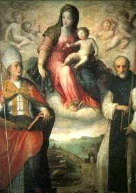 Giovanni Balducci, Madonna col Bambino tra i Ss Gennaro e Agnello Abate, olio su tavola, 1600/1612, Napoli, Duomo