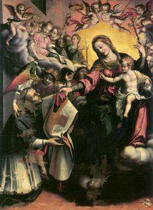 Giovanni de Gregorio detto il Pietrafesa, La Vergine consegna la pianeta a Sant'Ildefonso, XVII sec., Abriola, chiesa madre
