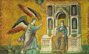 Pietro Cavallini, Annunciazione, mosaico, 1291, Roma, chiesa di Santa Maria in Trastevere