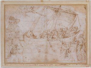 Parri Spinelli, Disegno della navicella di Giotto, dall'originale del mosaico della Navicella, 1387-1473, New York, Metropolitan Art Museum