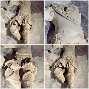 Resti della statua di San Michele Arcangelo di incerta datazione, forse XVI sec., ritrovati nella chiesa del purgatorio di Lagonegro