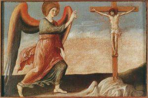 Giovanni Bellini, Polittico di Genzano, part. dell'Angelo Gabriele con Cristo crocifisso