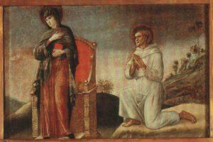 Giovanni Bellini, Polittico di Genzano, part. della Vergine Annunciata con San Francesco