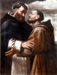 Mattia Preti (attr.), Incontro tra San Francesco e San Domenico, olio su tela, XVII sec., Lagonegro, convento di Santa Maria degli Angeli