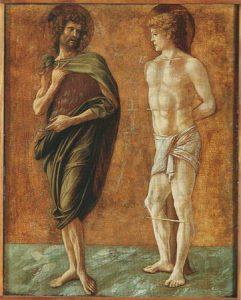 Giovanni Bellini, Polittico di Genzano, part. con San Giovanni Battista e San Sebastiano