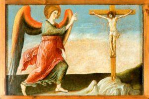 Giovanni Bellini, Polittico di Genzano, part. dell'Angelo Annunciante con Cristo Crocifisso
