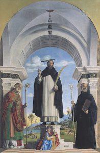 Cima da Conegliano, San Pietro Martire tra i Ss. Nicola di Bari e Benedetto, 1505-1506, Milano, pinacoteca di Brera