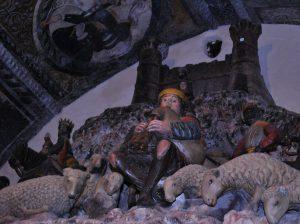 Altobello Persio, Presepe in pietra policroma, Matera, Cattedrale, part. del suonatore di zampogna
