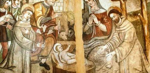 Giovanni Todisco, Natività con i Ss. Francesco d'Assisi e Antonio da Padova, XVI sec., Laurenzana (Potenza) corrituretto del convento di Santa Maria ad NIves