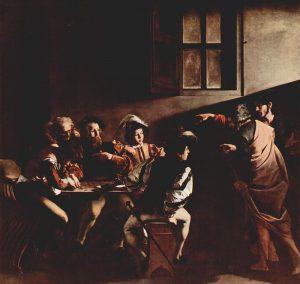 MIchelangelo Merisi detto il Caravaggio, Vocazione di San Matteo, 1599, Roma, chiesa di San Luigi dei Francesi, cappella Contarelli