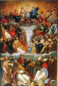 Tav. 13 - Giovan Bernardo Azzolino - Santissima Trinita e Santi - documentato al 1617 - Napoli Chiesa del Gesù
